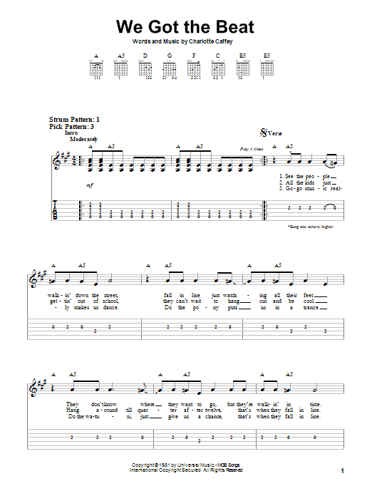 Tablature guitare We Got The Beat de The Go Go's - Tablature guitare facile