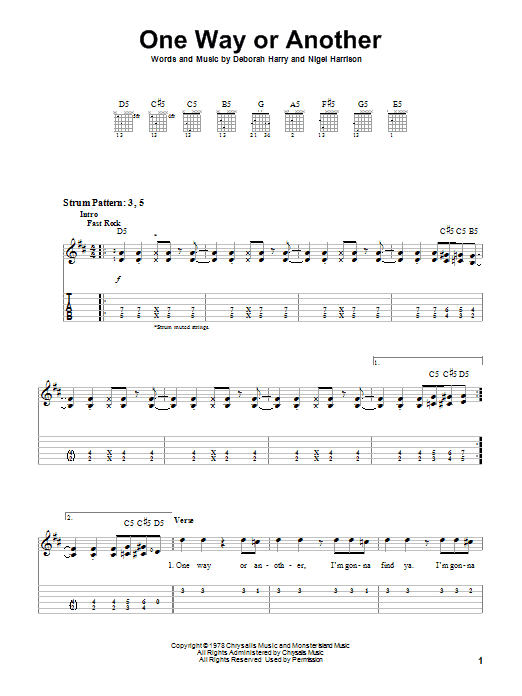 Tablature guitare One Way Or Another de Blondie - Autre