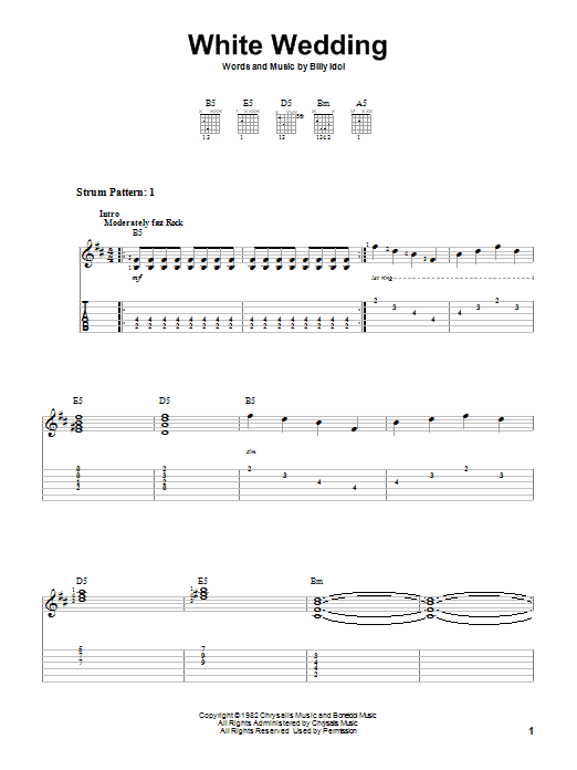 Tablature guitare White Wedding de Billy Idol - Autre