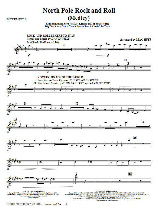North Pole Rock And Roll (Medley) (complete set of parts) sheet music for orchestra/band (chamber ensemble) by Mac Huff. Score Image Preview.