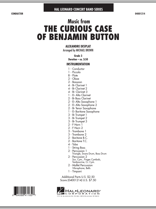 Music from The Curious Case of Benjamin Button (COMPLETE) sheet music for concert band by Michael Brown and Alexandre Desplat. Score Image Preview.