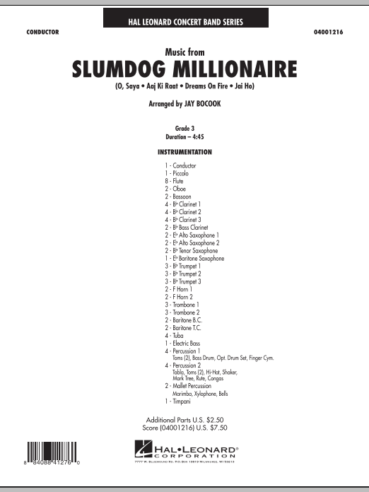Music from Slumdog Millionaire (COMPLETE) sheet music for concert band by Jay Bocook and A.R. Rahman. Score Image Preview.
