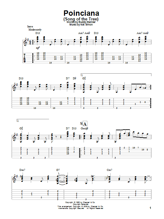 Tablature guitare Poinciana (Song Of The Tree) de Buddy Bernier - Tablature Guitare