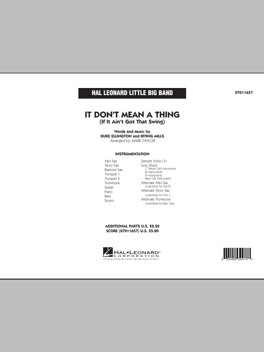 It Don't Mean a Thing (If It Ain't Got That Swing) (COMPLETE) sheet music for jazz band by Mark Taylor, Duke Ellington and Irving Mills. Score Image Preview.