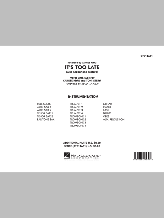 It's Too Late (Alto Saxophone Feature) (COMPLETE) sheet music for jazz band by Carole King and Mark Taylor. Score Image Preview.