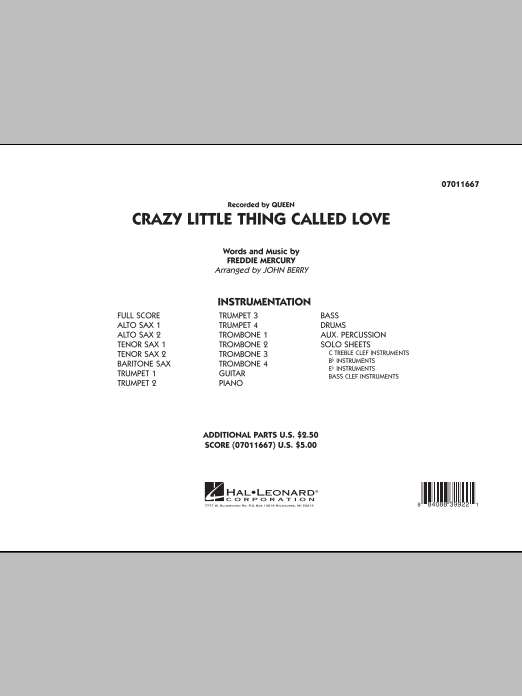 Crazy Little Thing Called Love (COMPLETE) sheet music for jazz band by John Berry, Freddie Mercury and Queen. Score Image Preview.