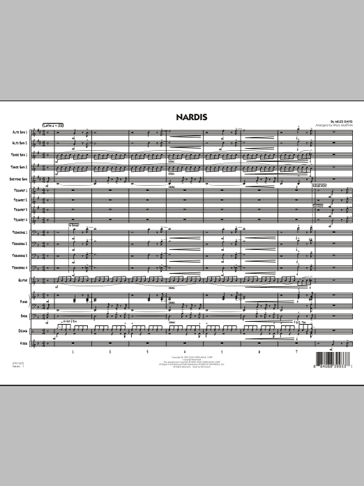 Nardis (COMPLETE) sheet music for jazz band by Paul Murtha, Bill Evans and Miles Davis. Score Image Preview.