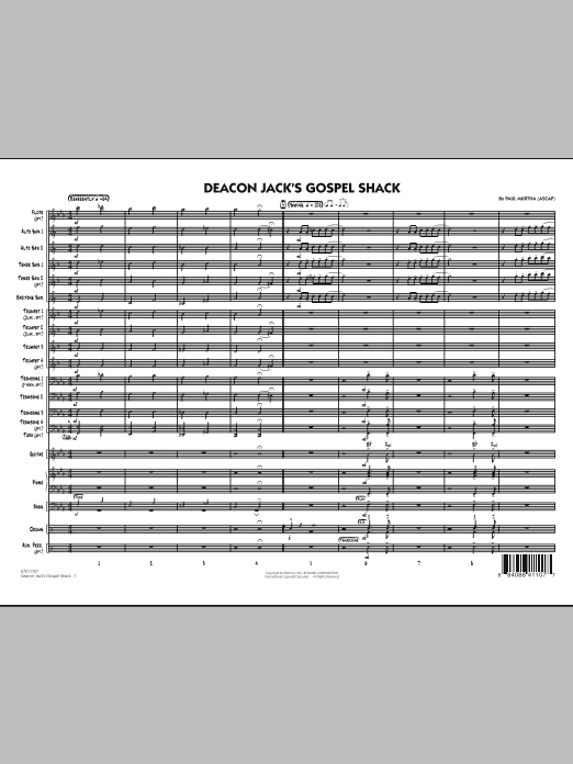 Deacon Jack's Gospel Shack (COMPLETE) sheet music for jazz band by Paul Murtha. Score Image Preview.