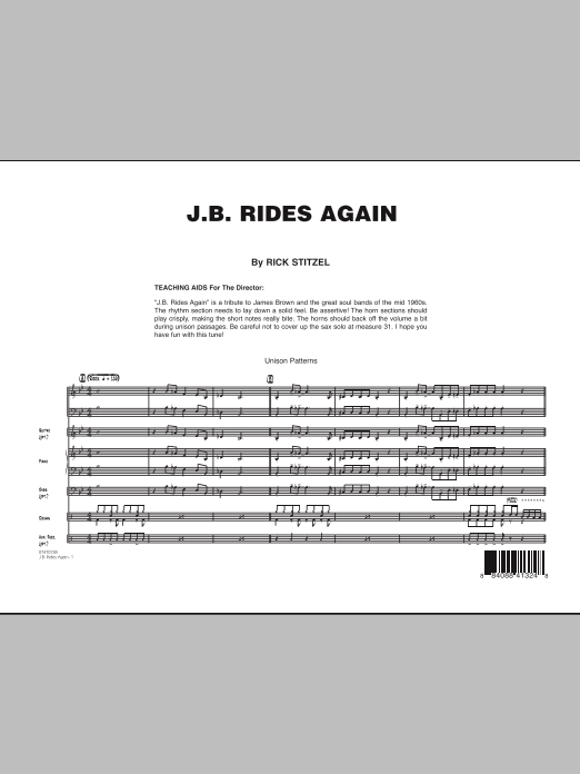 J.B. Rides Again (COMPLETE) sheet music for jazz band by Rick Stitzel. Score Image Preview.