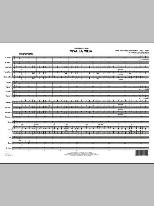 Viva La Vida (COMPLETE) sheet music for jazz band by Roger Holmes and Coldplay. Score Image Preview.