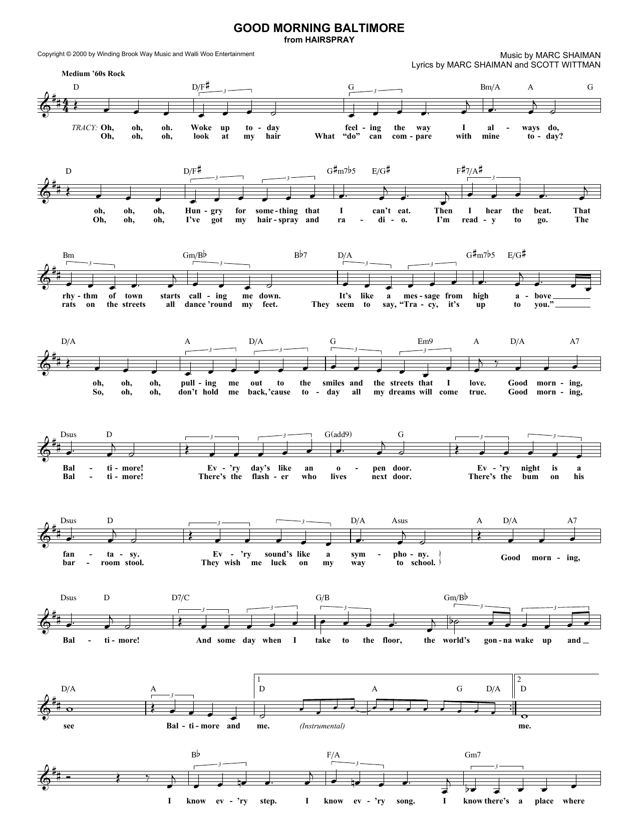 Good Morning Baltimore (Lead Sheet / Fake Book)