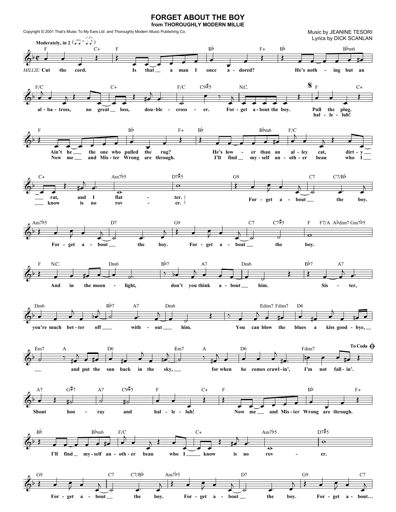 Forget About The Boy (Lead Sheet / Fake Book)