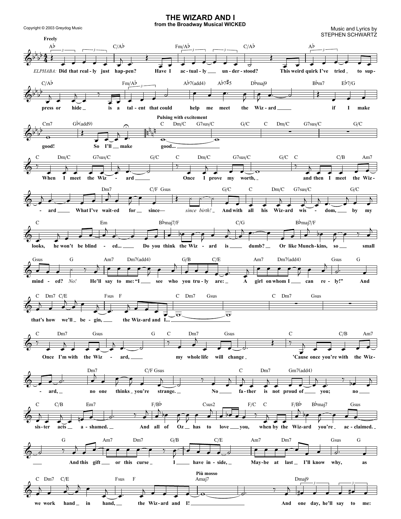 The Wizard And I (from Wicked) (Lead Sheet / Fake Book)
