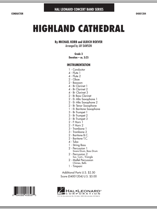 Highland Cathedral (COMPLETE) sheet music for concert band by Jay Dawson, Michael Korb and Ulrich Roever. Score Image Preview.