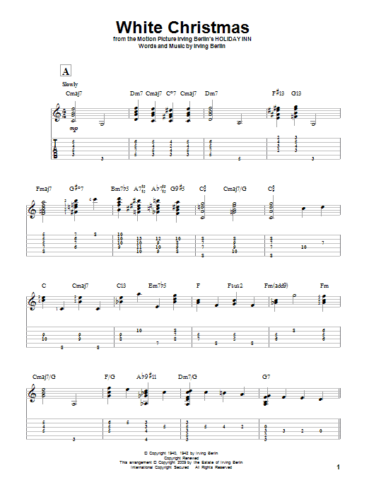 Tablature guitare White Christmas de Irving Berlin - Tablature Guitare