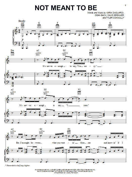 Not Meant To Be (Piano, Vocal & Guitar (Right-Hand Melody))