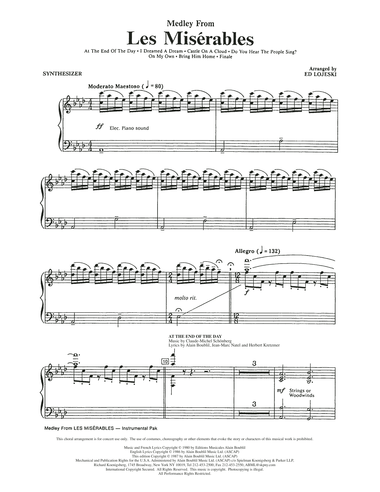 Les Miserables (Choral Medley) (arr. Ed Lojeski) - Synthesizer (Choir Instrumental Pak)