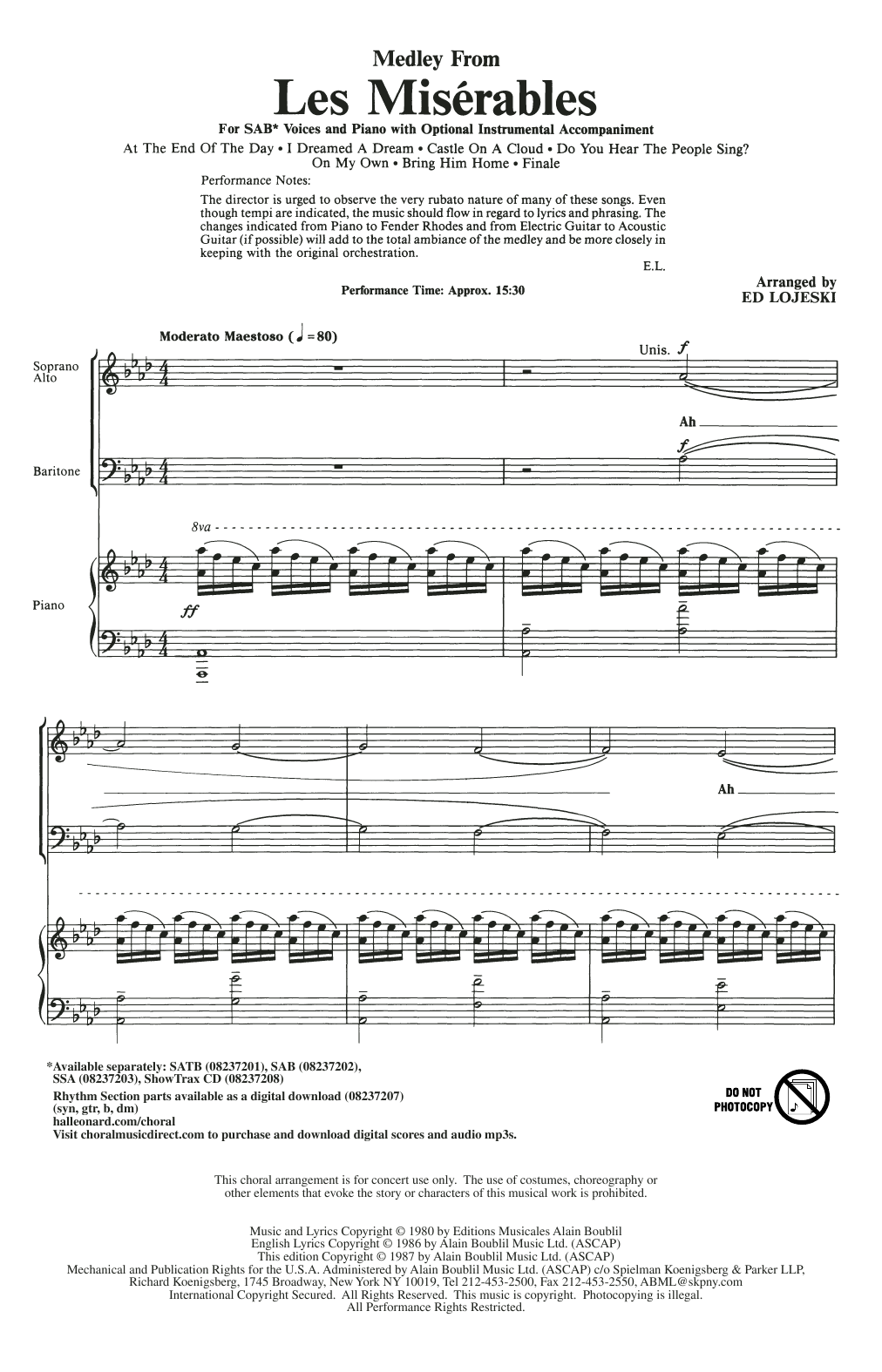 Les Miserables (Choral Medley) (arr. Ed Lojeski) Sheet Music