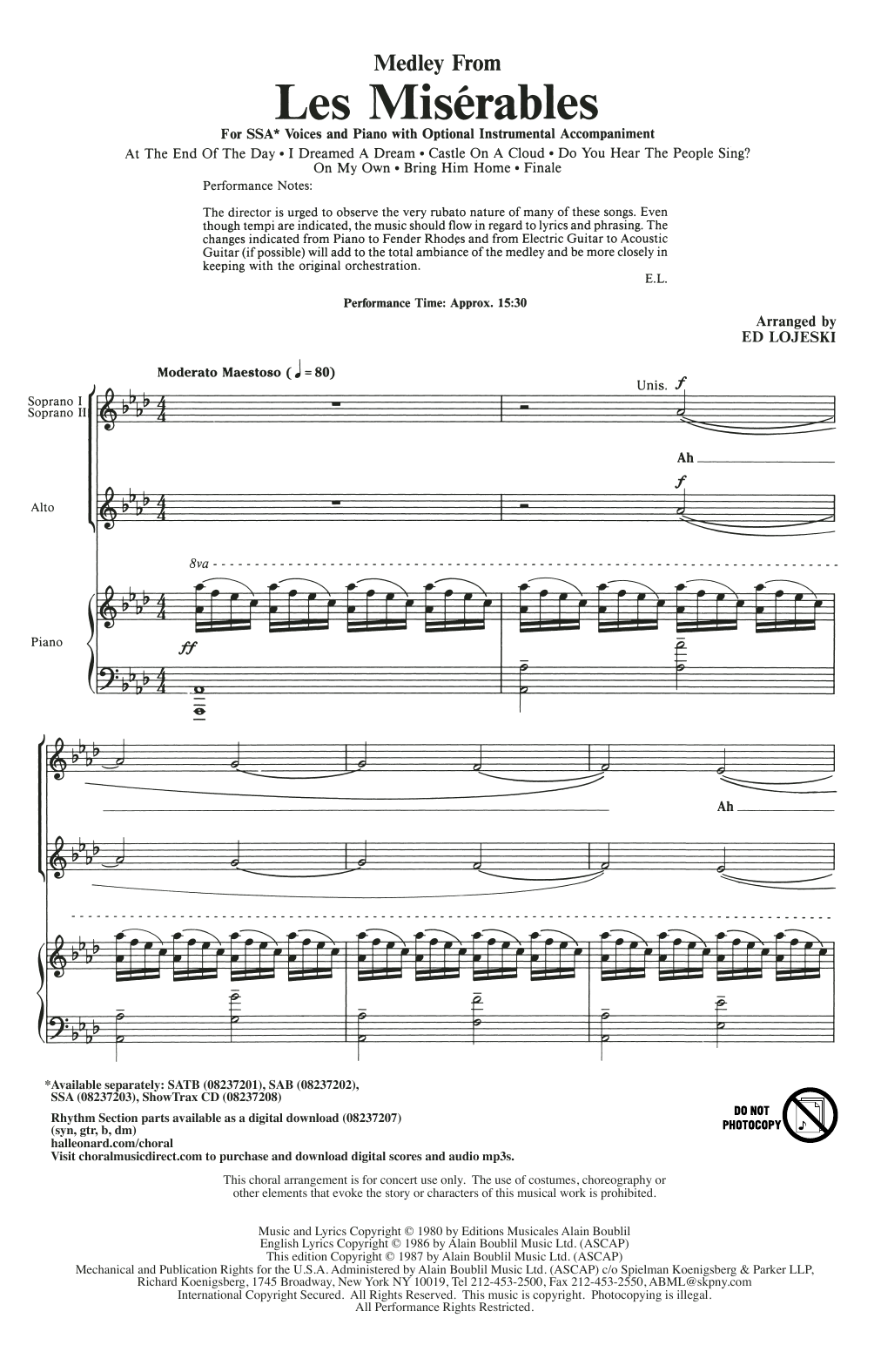 Les Miserables (Choral Medley) Sheet Music