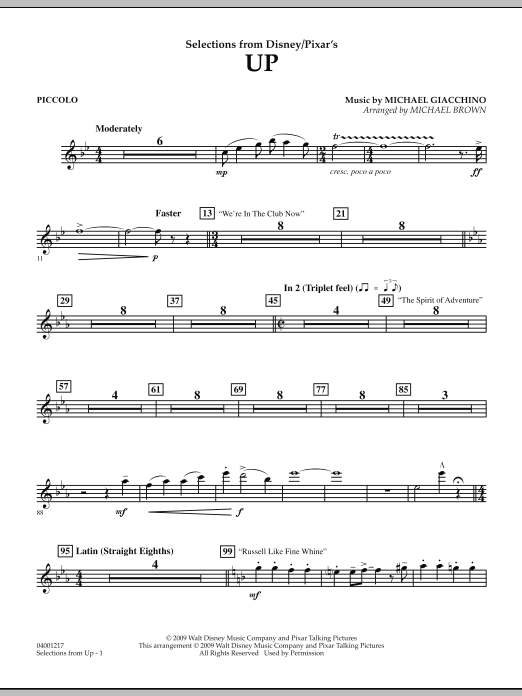 Selections from Up - Piccolo (Concert Band)