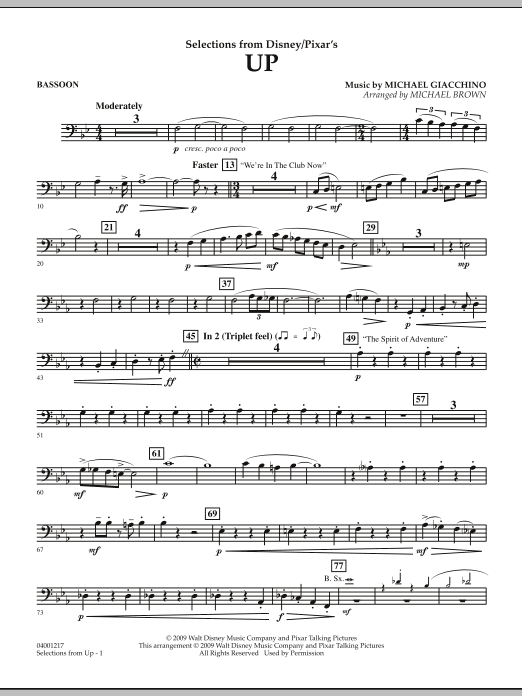 Selections from Up - Bassoon (Concert Band)
