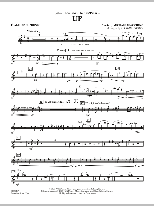 Selections from Up - Eb Alto Saxophone 1 (Concert Band)