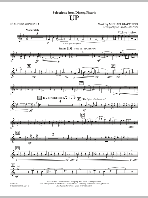 Selections from Up - Eb Alto Saxophone 2 (Concert Band)