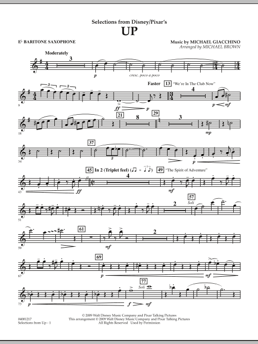 Selections from Up - Eb Baritone Saxophone (Concert Band)