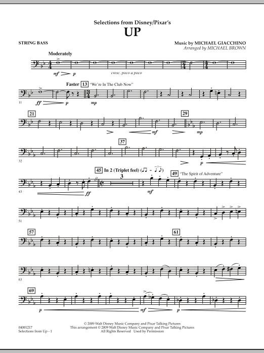 Selections from Up - String Bass (Concert Band)