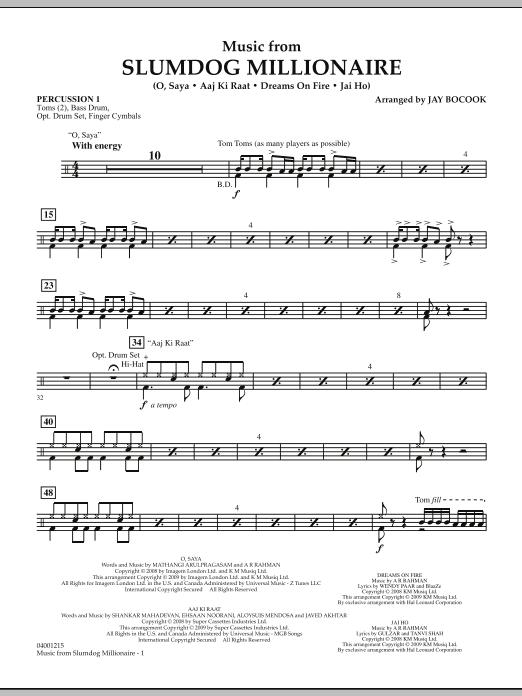Music from Slumdog Millionaire - Percussion 1 (Concert Band)