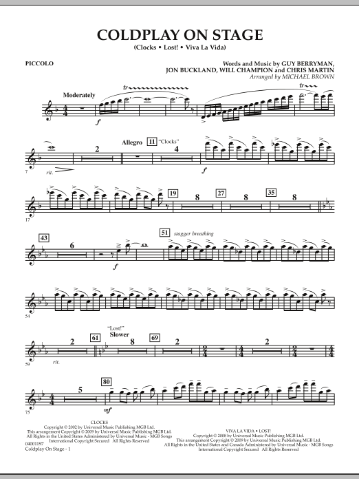 Coldplay on Stage - Piccolo (Concert Band)