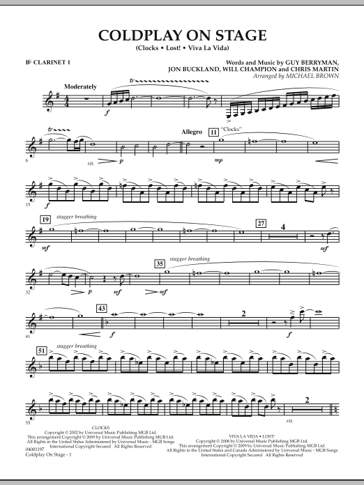 Coldplay on Stage - Bb Clarinet 1 (Concert Band)