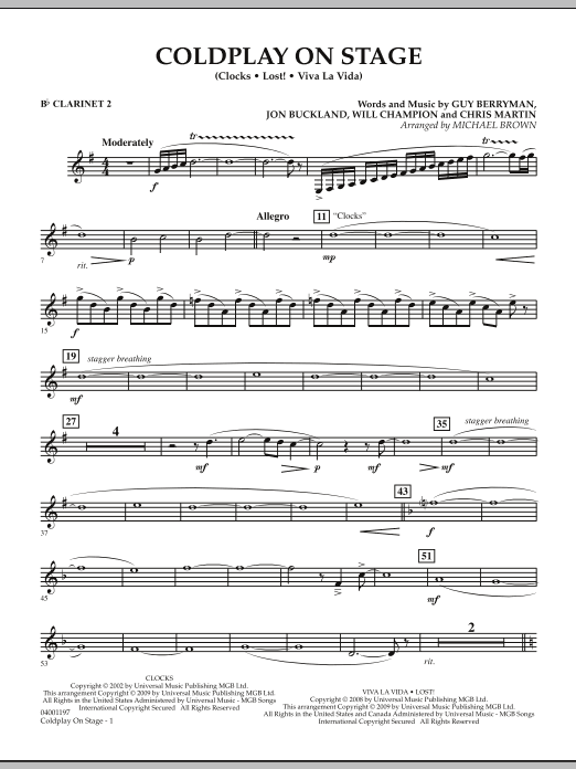 Coldplay on Stage - Bb Clarinet 2 (Concert Band)