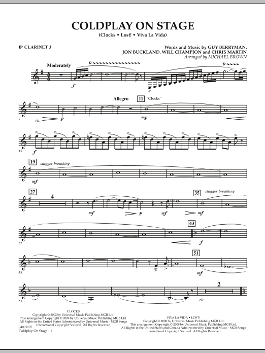 Coldplay on Stage - Bb Clarinet 3 (Concert Band)
