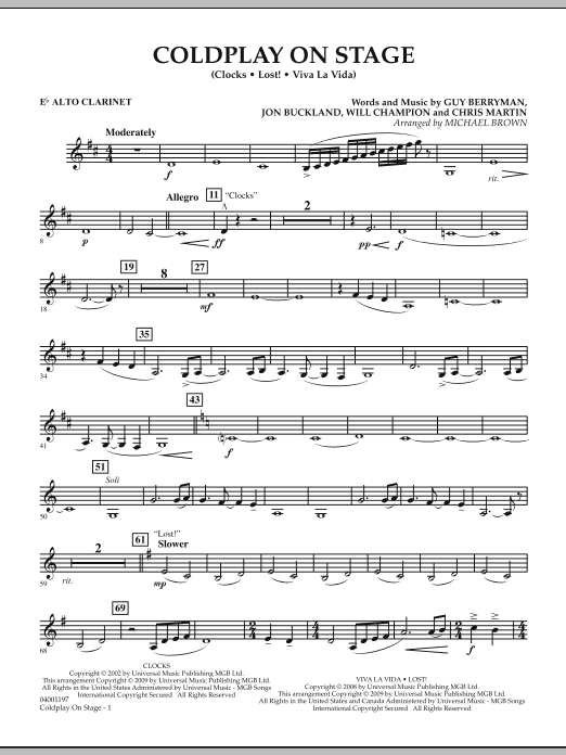 Coldplay on Stage - Eb Alto Clarinet (Concert Band)