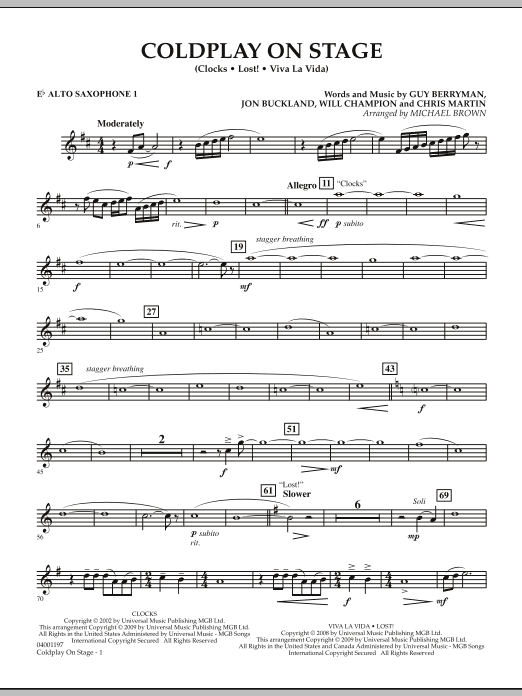 Coldplay on Stage - Eb Alto Saxophone 1 (Concert Band)