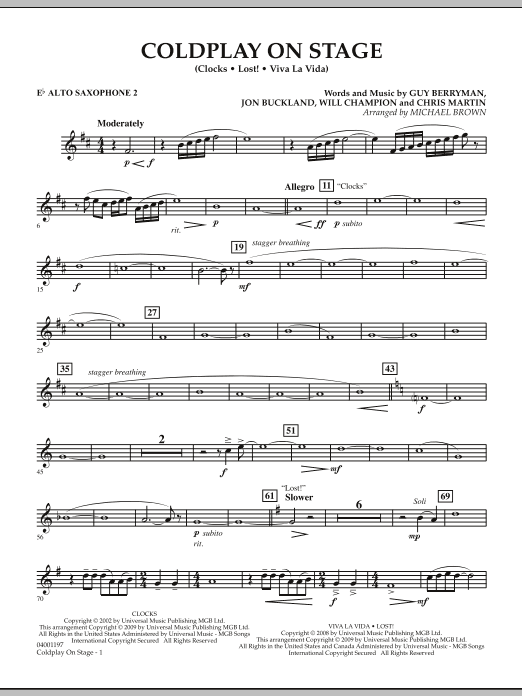 Coldplay on Stage - Eb Alto Saxophone 2 (Concert Band)