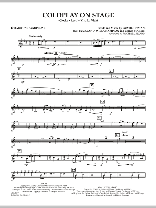 Coldplay on Stage - Eb Baritone Saxophone (Concert Band)