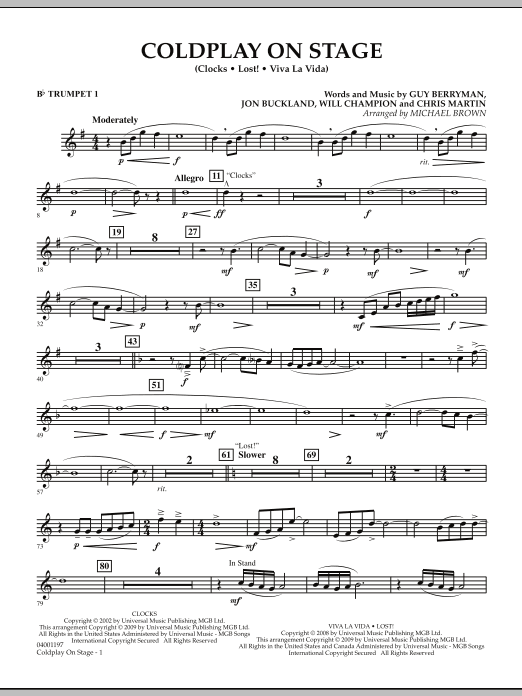 Coldplay on Stage - Bb Trumpet 1 (Concert Band)