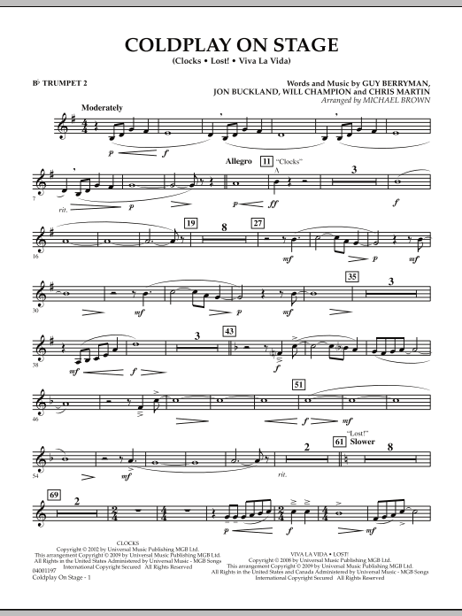 Coldplay on Stage - Bb Trumpet 2 (Concert Band)