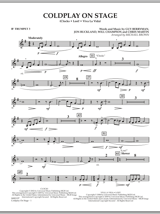 Coldplay on Stage - Bb Trumpet 3 (Concert Band)