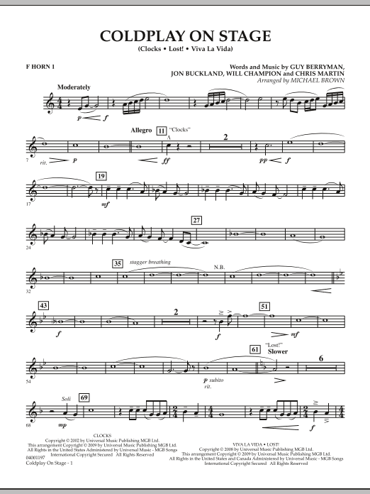 Coldplay on Stage - F Horn 1 (Concert Band)