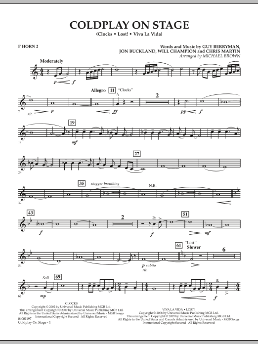 Coldplay on Stage - F Horn 2 (Concert Band)