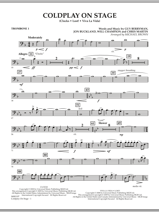 Coldplay on Stage - Trombone 1 (Concert Band)