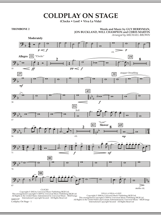 Coldplay on Stage - Trombone 2 (Concert Band)