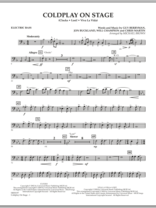 Coldplay on Stage - Electric Bass (Concert Band)