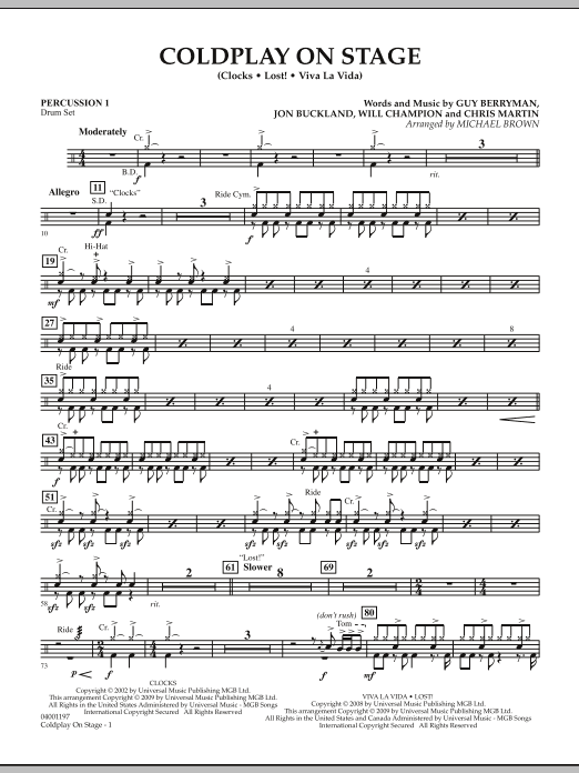 Coldplay on Stage - Percussion 1 (Concert Band)