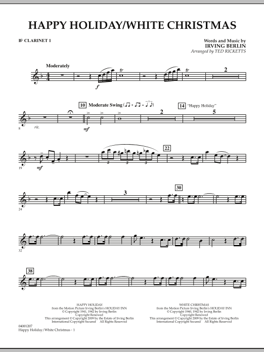 Happy Holiday/White Christmas - Bb Clarinet 1 (Concert Band)