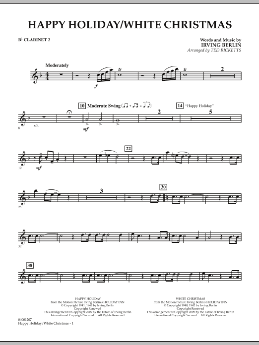 page one of Happy Holiday/White Christmas - Bb Clarinet 2ASALTTEXT