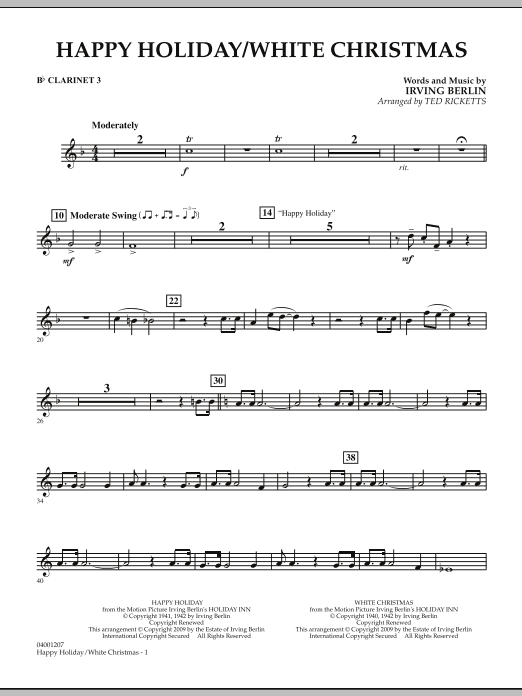 page one of Happy Holiday/White Christmas - Bb Clarinet 3ASALTTEXT